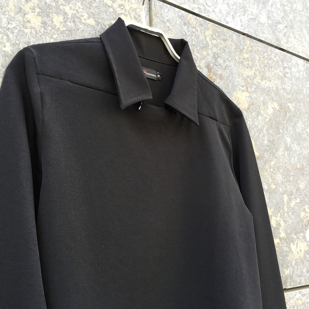 Black Polyester Mix Vintage Top LS Collar Detail Size S/M
