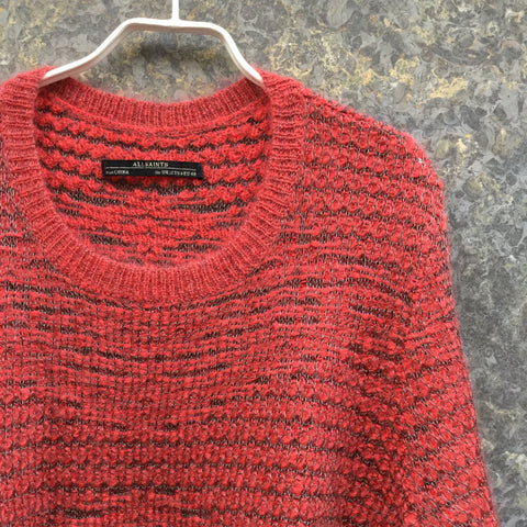 Deep Red-Black Mohair Mix All Saints Sweater Metallic Size L/XL