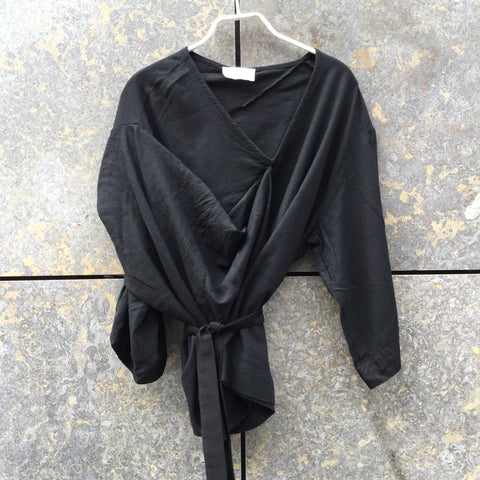 Black Cotton / Rayon Mix Hussein Chalayan Top short sleeve Conceptual Detail Asymetric Size XS/S