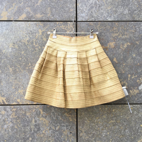 Gold Polyester Vintage Contemporary A-Line Skirt  Size 25/26