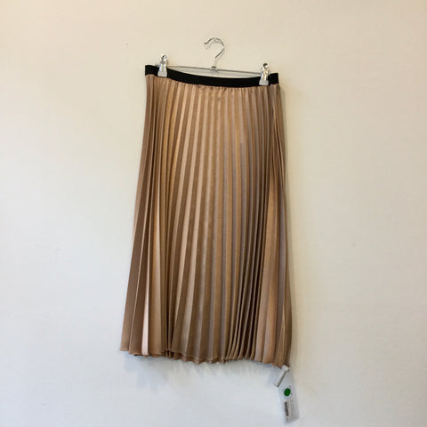 Copper-Black Polyester Modern Someday Midi Skirt Pleated Metallic Size 29/30