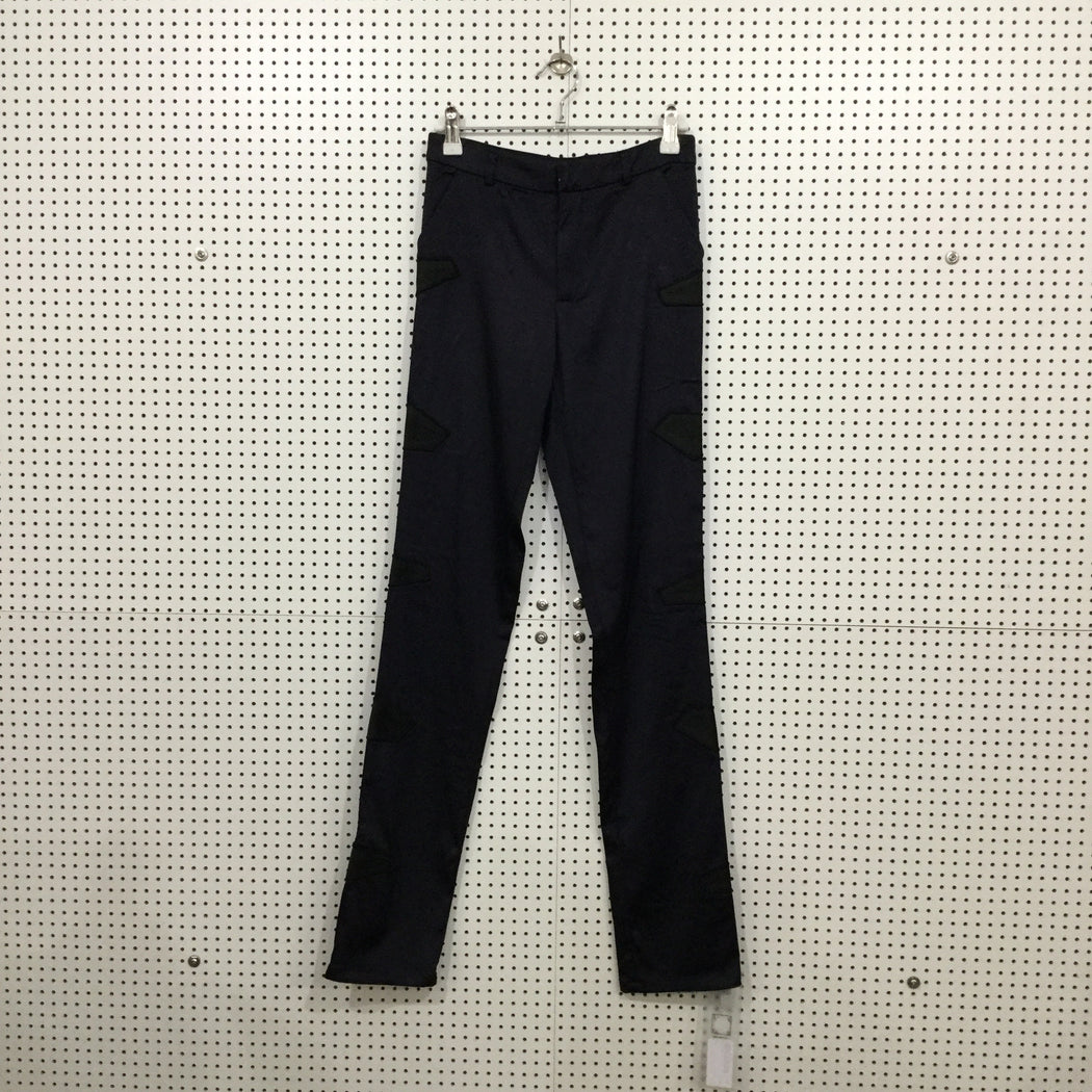Midnight Blue Rayon Mix Nhu Duong Trousers Stitching Detail Size 25/26