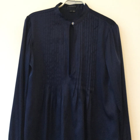 Midnight Blue Silk Theory Blouse Pleated Mandarin Collar Size S/M
