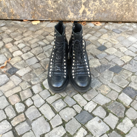 Black Leather Miista Boots Wedge Heel Size 40