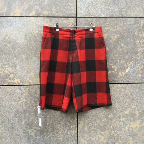 Black-Red Wool Contemporary Designer Shorts  Size 34