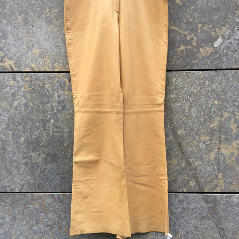 Khaki-White Leather Taifun Trousers Bell Bottom Size 28/29
