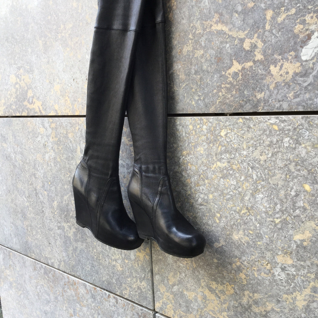 Black Leather Rick Owens Knee-High Boots  Size 6.5