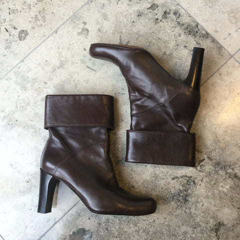 Brown Leather Vintage Boots Foldable Size 36