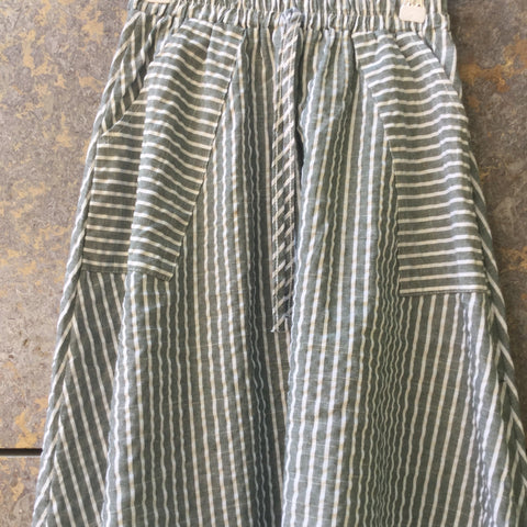 Grey Taupe-White Linen Mix Vintage Midi Skirt Draw String Oversized Pocket Size 24/25