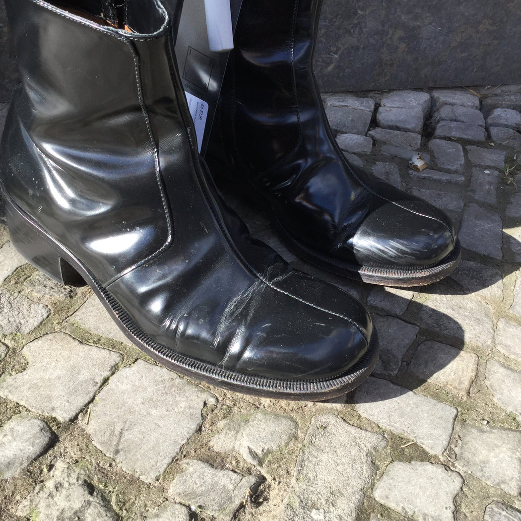 Black Leather Gucci Boots Pattent Size 7.5