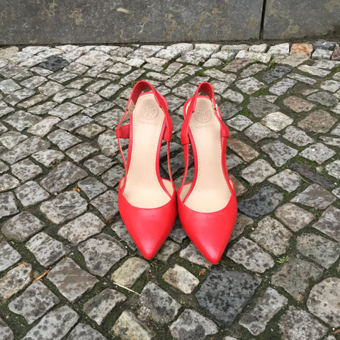 Red Leather Contemporary Designer Pumps Heels  Size 6.5