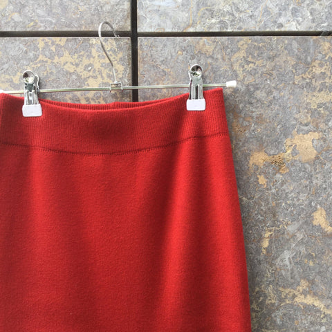 Red Acrylic Mix Vintage Midi Skirt Slit Panel Size 26/27