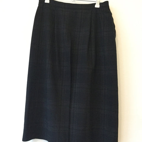 Black Cotton / Poly Mix Max Mara Skirt Slit Panel Minimalist Detail Size 28/29