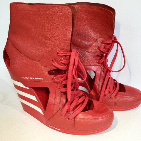Red-White Leather/synthetic Mix Y-3 Wedge Heels  Size 39