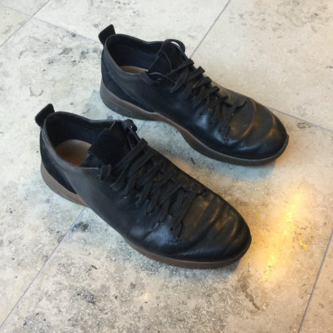Black Leather Feit Sneakers Minimalist Detail Size 44