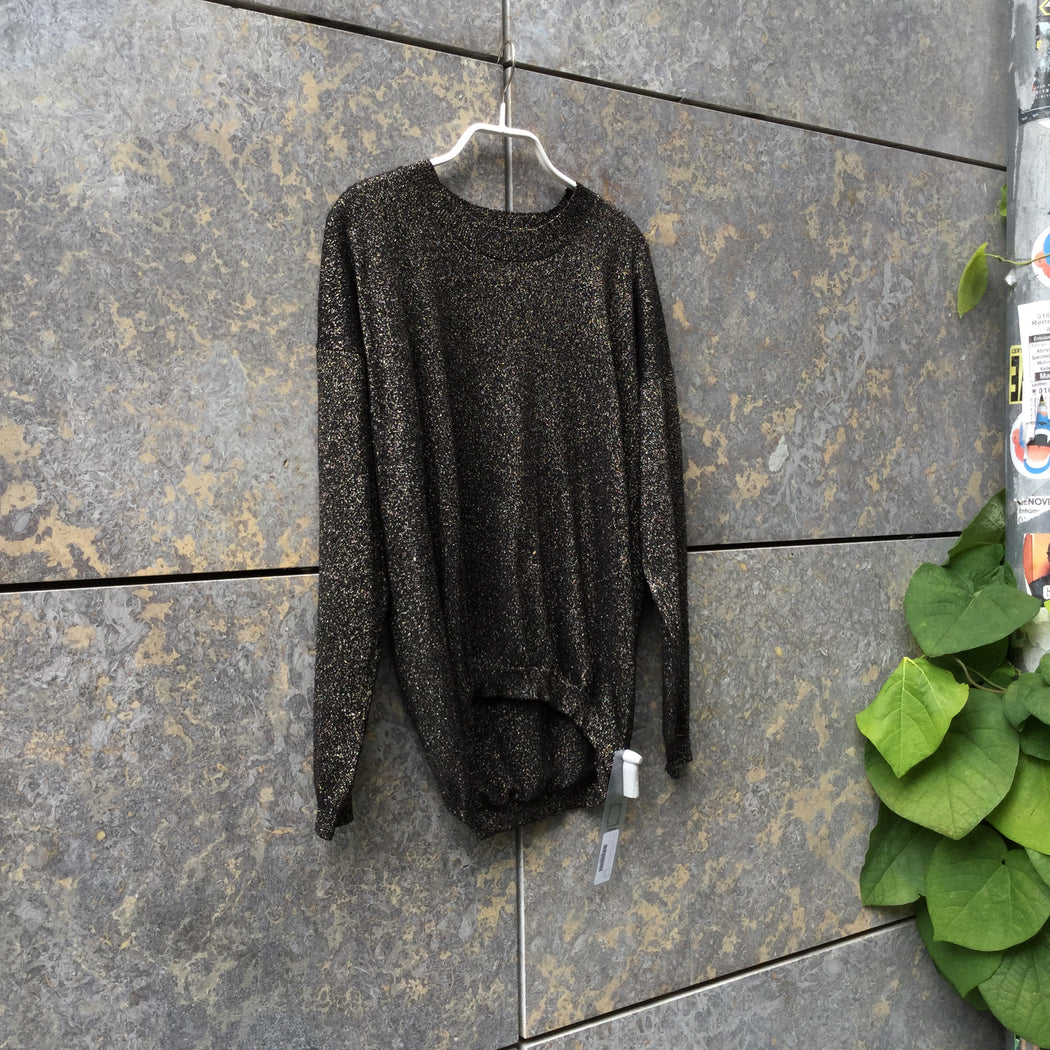 Black-Gold Rayon Mix Vintage Knit Top  Size M/L