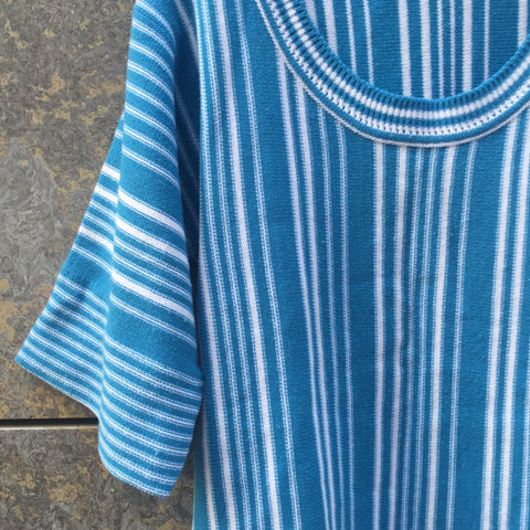 White-Blue Acrylic Directional Vintage Knit Top  Size Xs/S