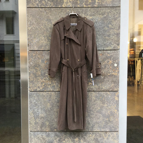 Brown Silk Mix Jil Sander Trench Coat Double Breasted Extended Size M/L