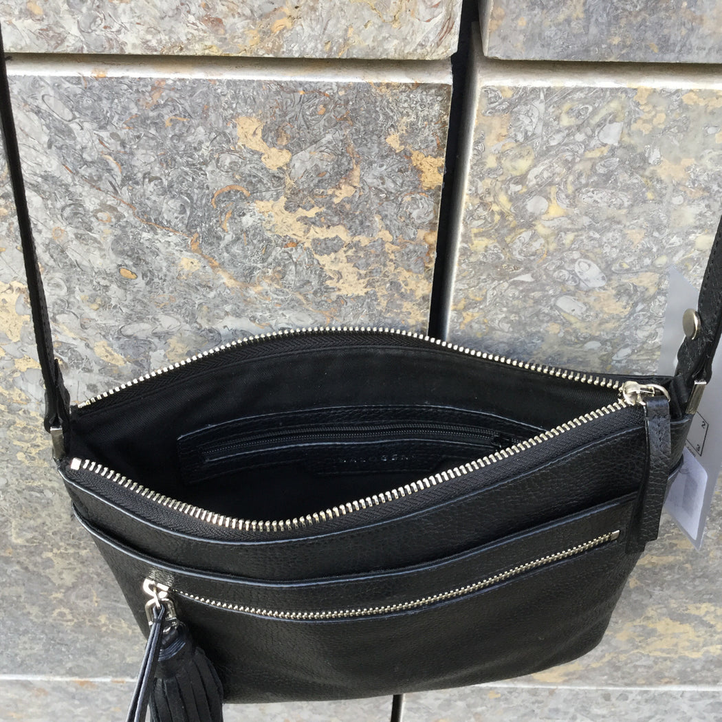 Black Leather Contemporary Shoulder Purse  Size Adjustable