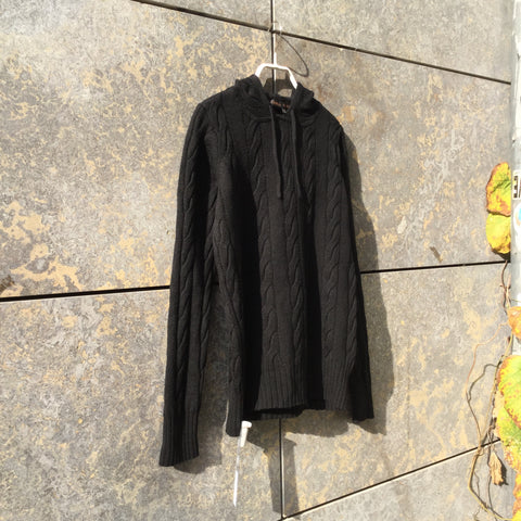 Black Wool Independent Sweater Hoody Size L/XL
