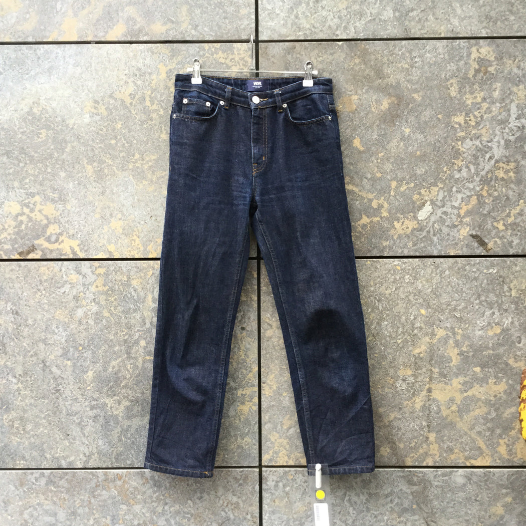 Midnight Blue Denim Wood Wood Straight Fit Jeans Cropped Pants Size 28/29