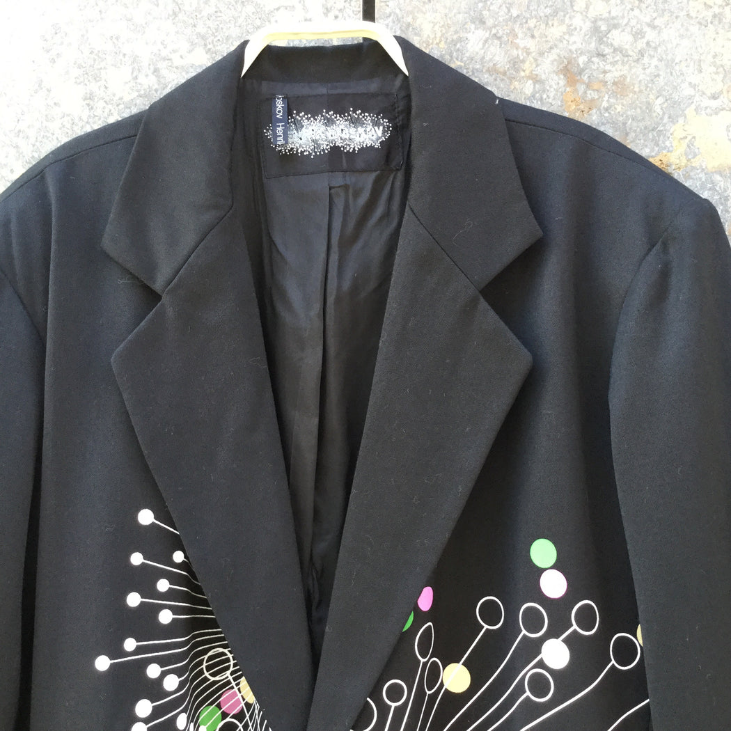 Colorful Wool Contemporary Designer Blazer-Jacket  Size L