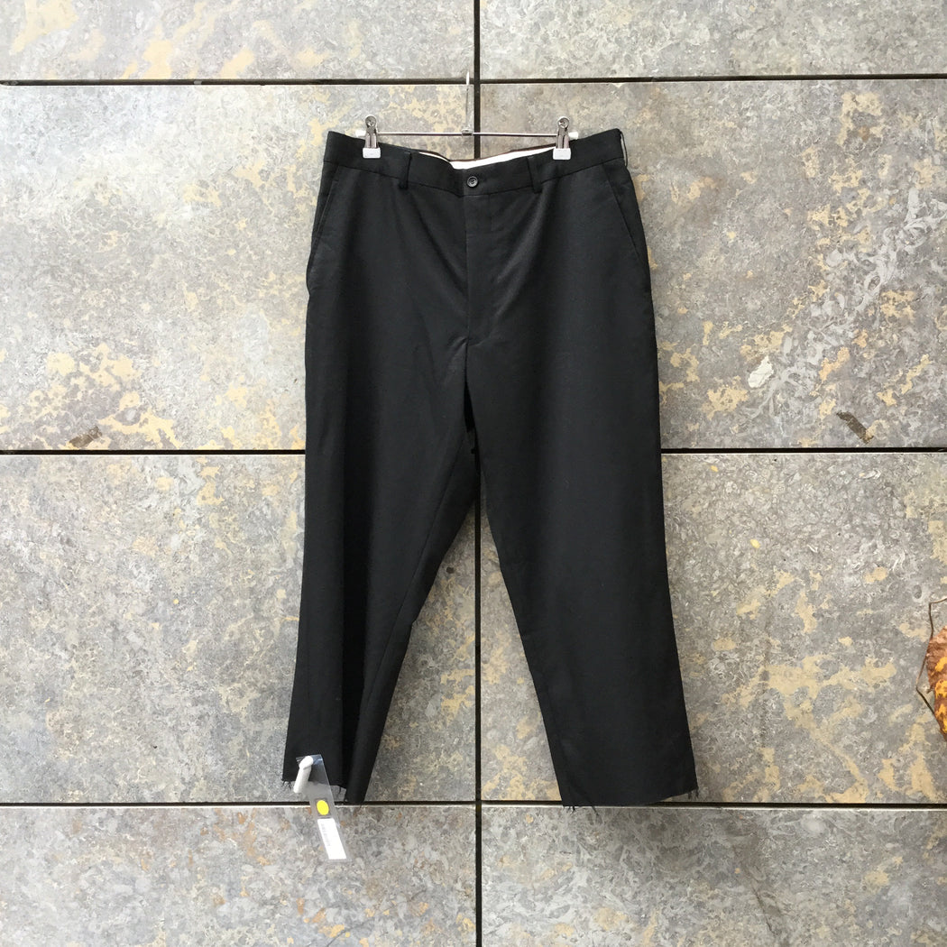 Black Cotton Comme Des Garcons Trousers Raw Hem Size 30