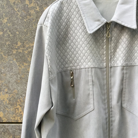 Pale Grey Polyester Modern Vintage Shirt Zippered Size M