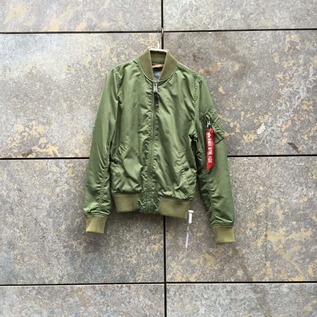 Pea Soup Green Nylon Alpha Industries Bomber Multi Pocket Size S/M