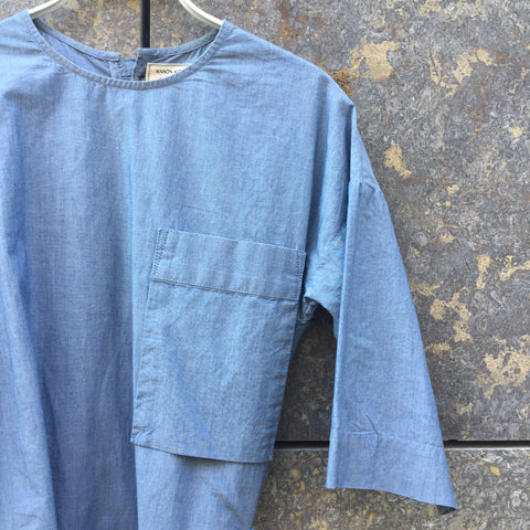 Light Blue Cotton Maison Kitsuné Shirt Dress Buckled Size S/M
