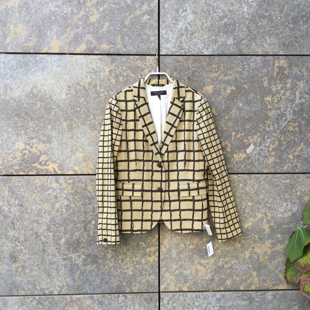 Black-Beige Cotton Mix Rag And Bone Blazer  Size M/L