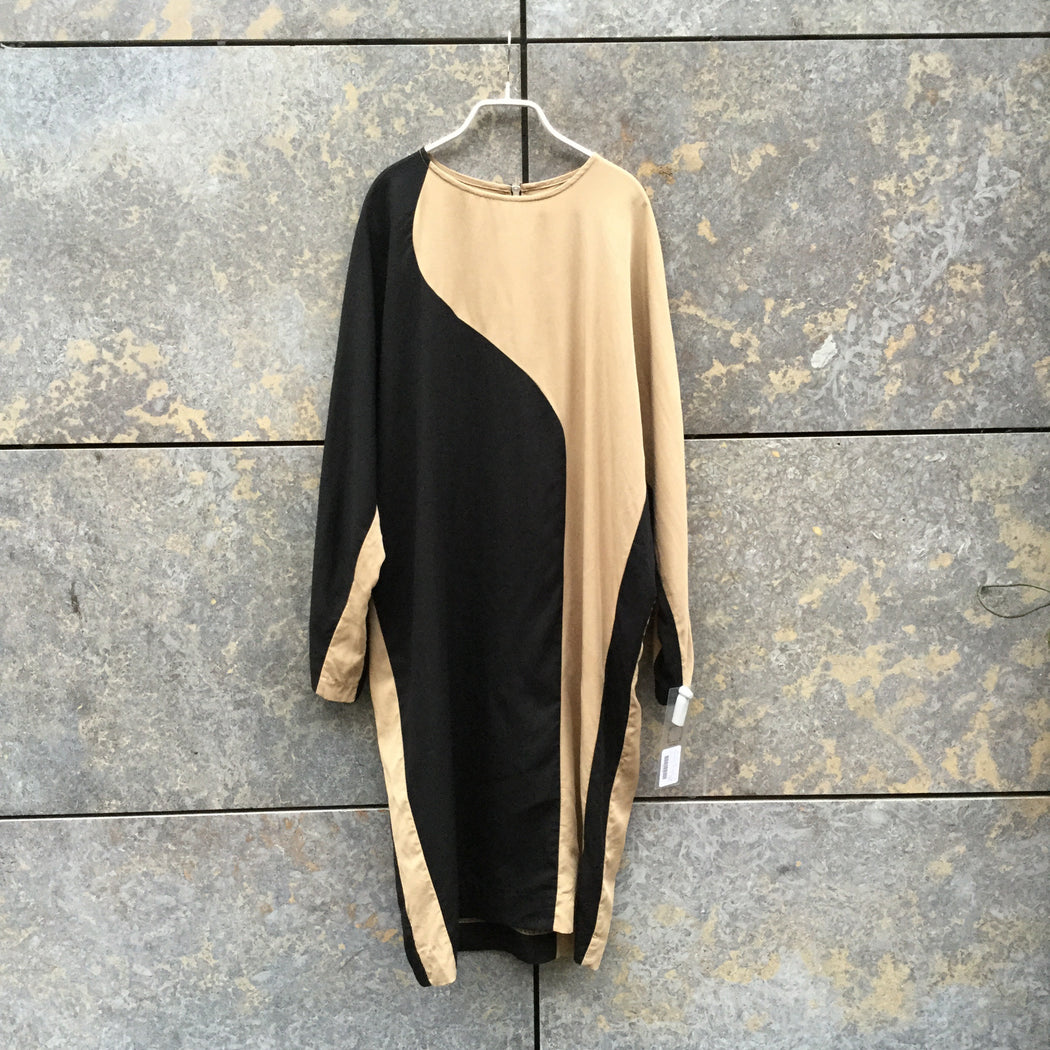 Black-Beige Rayon Wood Wood Midi Dress  Size M/L