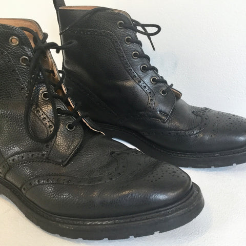 Black Leather Solovair Boots  Size 43
