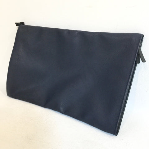 Midnight Blue-Black Leather Jil Sander Navy Clutch Conceptual Detail Foldable