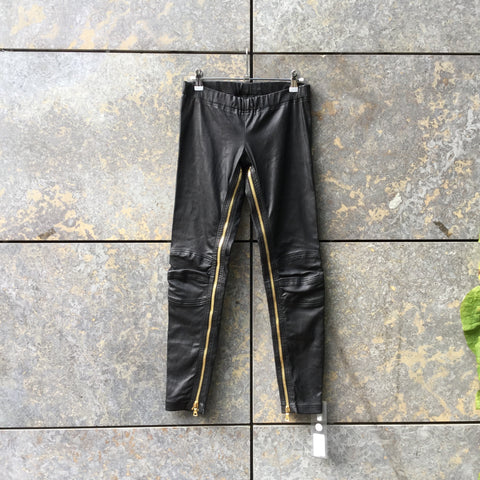 Black Leather Pierre Balmain Trousers Zippered Size 26/27