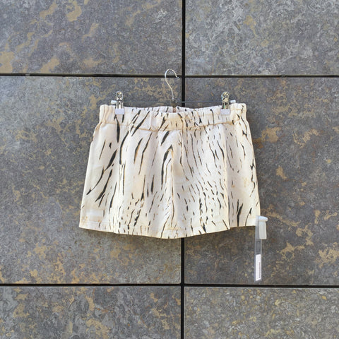 Beige Brown Cotton Contemporary Main Mini Skirt  Size Xs/S