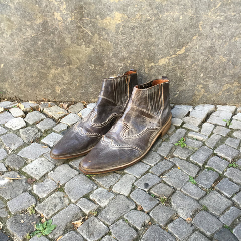 Brown Leather Contemporary Main Ankle Boots Stitching Detail Size 45