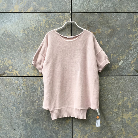 Pastel Pink Cotton Mix Chloé Top short sleeve Conceptual Detail Loose-fit Size L/XL