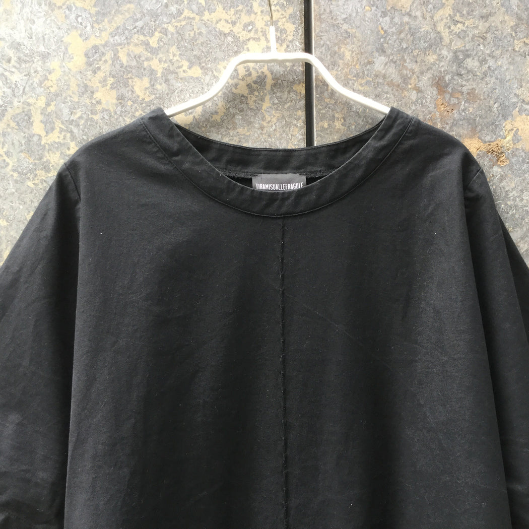 Black Cotton Mix Independent Top SS Embroidered Size Xl