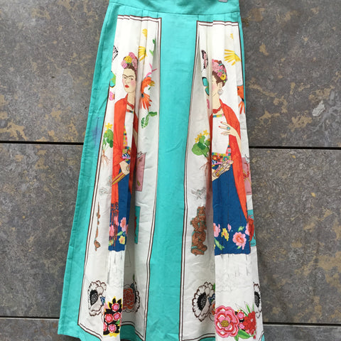 Colorful Cotton Vintage Midi Skirt  Size 28/29