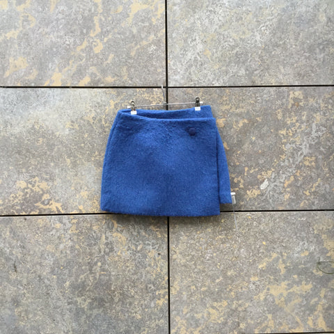 Blue Wool Mix Contemporary Designer Wrap Skirt  Size 30/31