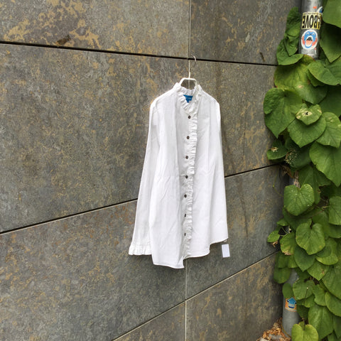White Cotton Contemporary Shirt Ruched Collar Detail Size M/L