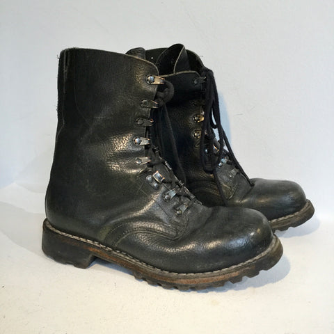 Black Leather Vintage Combat Boots  Size 42