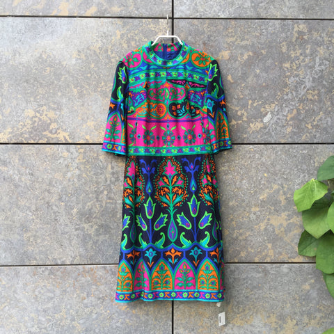 Colorful Wool Mix Vintage Midi Dress 3/4 Sleeve Size M/L