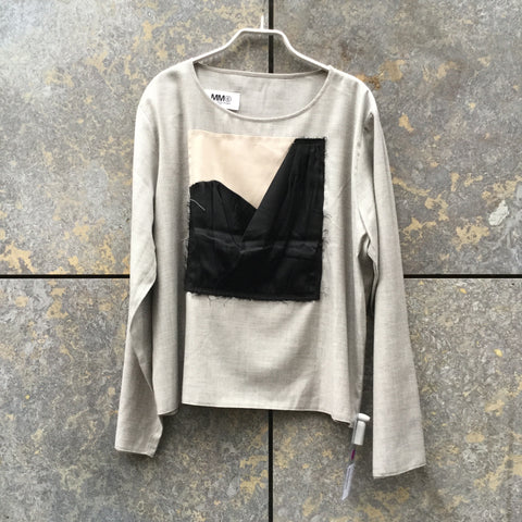Morning Gray-Black Wool Mix Mm6 Maison Margiela Top long sleeve Conceptual Detail Boxy Size M/L