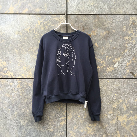 Midnight Blue-White Cotton Paloma Wool Sweatshirt  Size S/M
