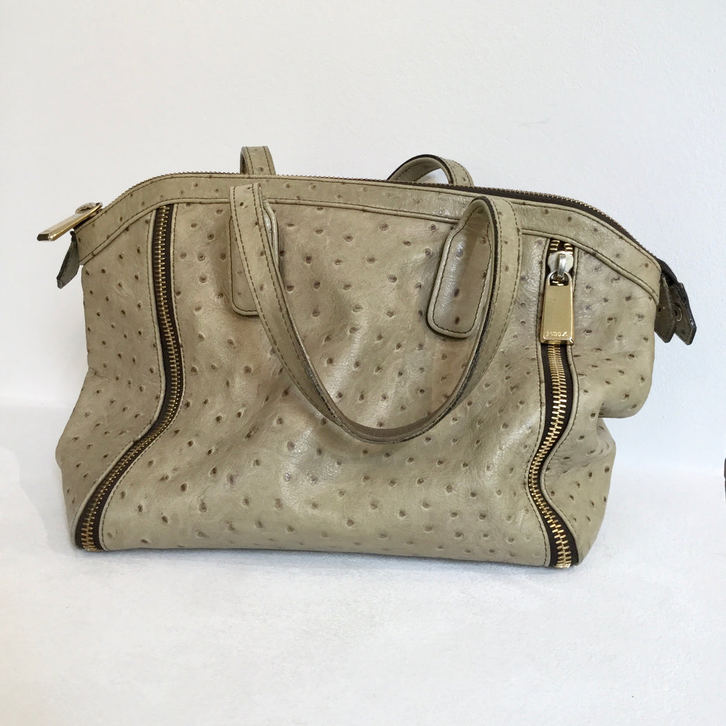 Pastel Green-Chocolate Leather Furla Hand Bag