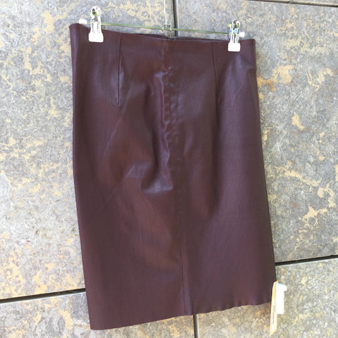 Eggplant Leather Contemporary Pencil Skirt High Waist Size 28/29