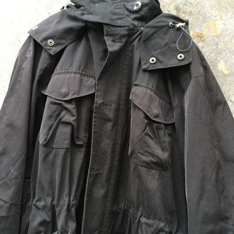 Black Cotton Mix Hope Coat Multi Pocket Size M/L
