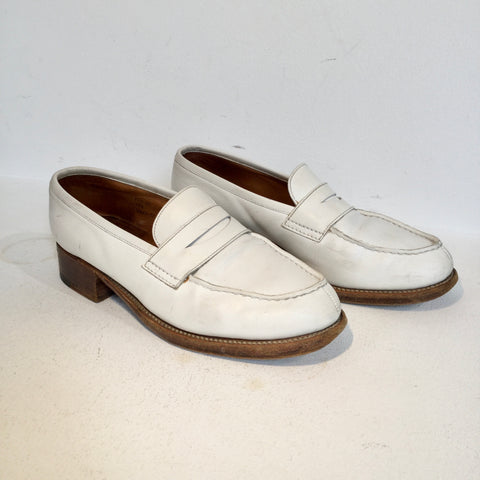 White Leather Jil Sander Loafers Fat Heel Size 38